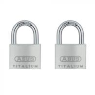 ABUS 64TI/40 TITALIUM TWIN PACK OPEN SHACKLE PADLOCKS