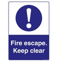 FIRE ESCAPE KEEP CLEAR SELF ADHESIVE PVC SIGN 150 x 200mm