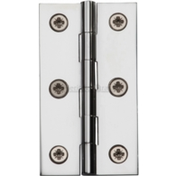 "HERITAGE BRASS HINGE 2 1/2"" X 1 3/8"" POLISHED CHROME FINISH"