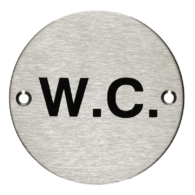 WC SIGN, 75MM SS