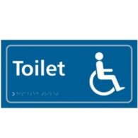 TAKTYLE DISABLED TOILET SIGN BRAILLE 350X150MM TK2202WHBL