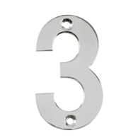 75mm NUMERAL 3 POLISHED STAINLESS STEEL