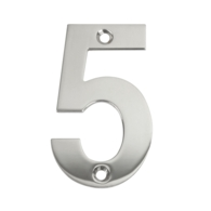 75mm NUMERAL 5 POLISHED STAINLESS STEEL