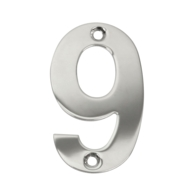 75mm NUMERAL 9 POLISHED STAINLESS STEEL