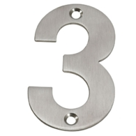 75mm NUMERAL 3 SATIN STAINLESS STEEL