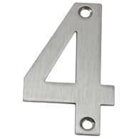 75mm NUMERAL 4 SATIN STAINLESS STEEL