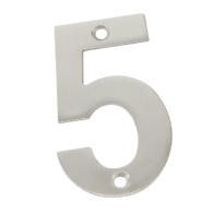 75mm NUMERAL 5 SATIN STAINLESS STEEL