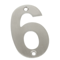 75mm NUMERAL 6 SATIN STAINLESS STEEL