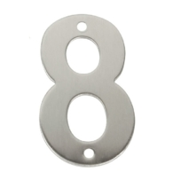 75mm NUMERAL 8 SATIN STAINLESS STEEL