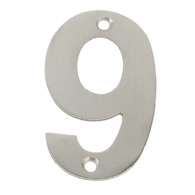 75mm NUMERAL 9 SATIN STAINLESS STEEL